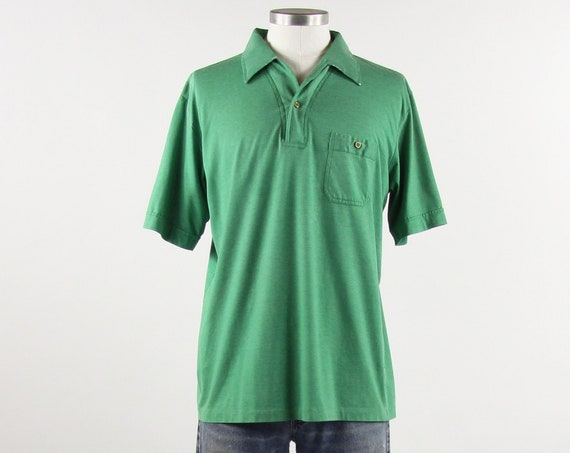 Men's Green 70's Soft Distressed Golf Shirt Vintage Size Medium Large