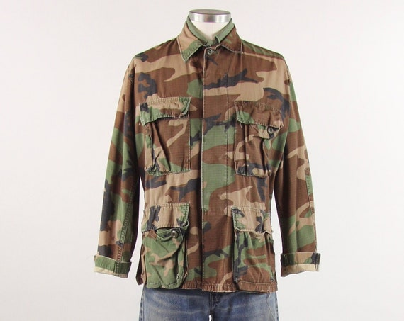 Camo Field Jacket Vintage Lightweight Military Army Camouflage Hunting Coat Size Medium Small