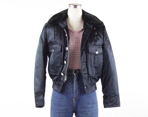 Women's Navy Blue Vintage Deadstock Uniform Bomber Jacket Police Uniform Size Small Medium