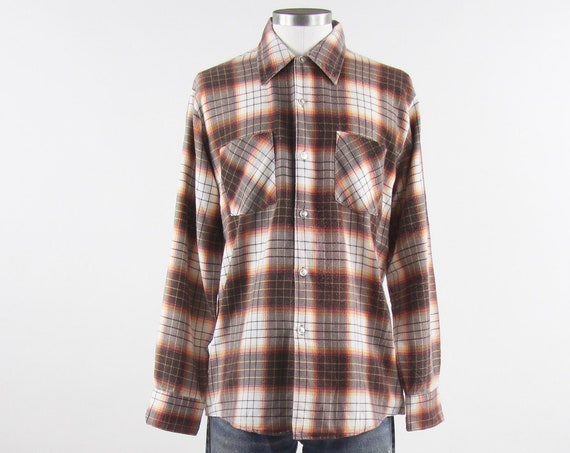 60's Plaid Flannel Shirt Long Sleeve Men's Shirt Brown White Orange Button Up Shirt Size Medium