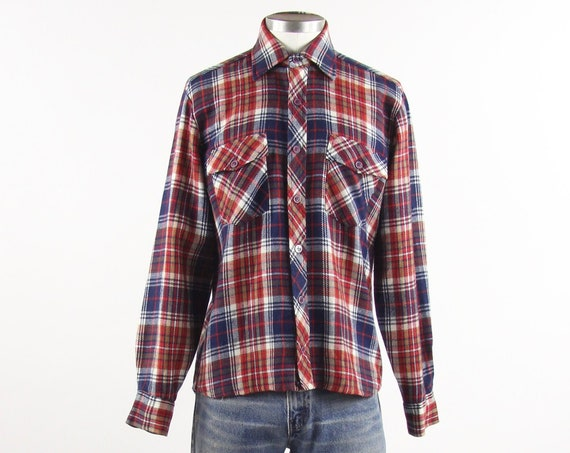 Men's Flannel Shirt Vintage K-Mart Red and Blue Plaid Lumberjack Shirt Size Medium