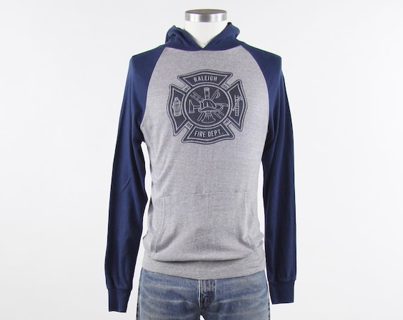 Raleigh NC T-shirt Vintage Fire Department Raglan Navy Gray Hooded Vintage Small Made in USA Chalk Line