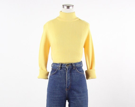 Women's Yellow Long Sleeve 70's Turtleneck Sweater Vintage Size Small Medium