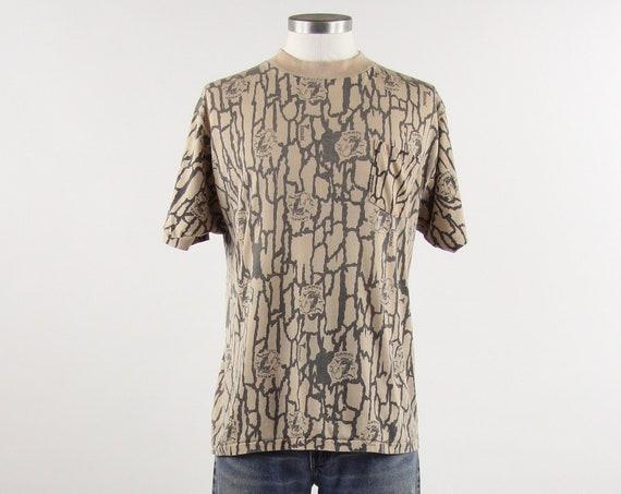 1990 Camel Cigarette T-shirt Camouflage Trebark Tee Shirt 50/50 T-Shirt Size Medium
