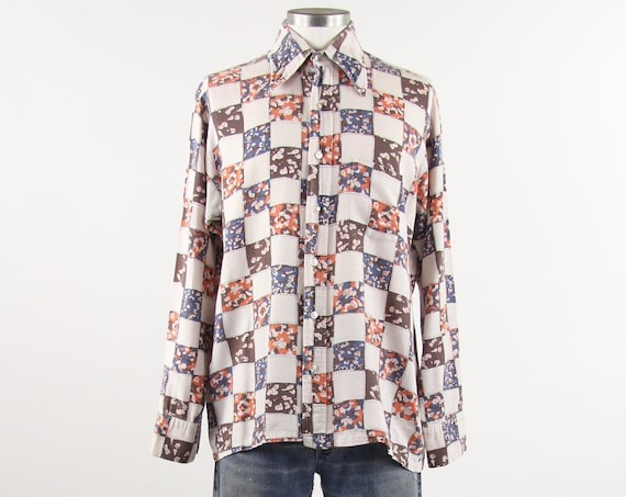 Psychedelic 60's Shirt Patchwork Pattern Men's Vintage Button Up Shirt Size Medium