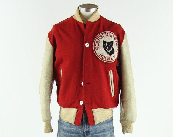 1950's Boston Hockey Varsity Jacket Vintage Distressed Winter Coat Men's Size Medium