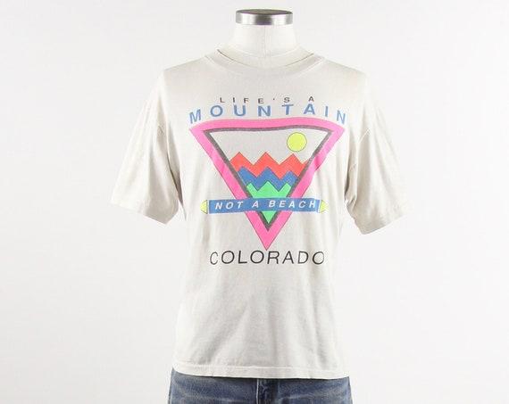 "90's Colorado T-shirt ""Life's a Mountain, Not a Beach"" White Cream Tee Shirt Vintage Size Medium"
