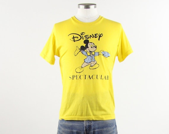 Disney Spectacular Yellow Mickey Mouse Vintage Tee Shirt Size Medium