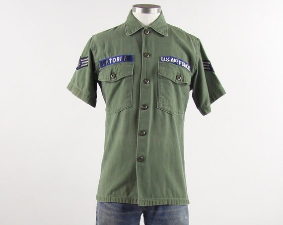 Men's Military Shirt Green Short Sleeve Air Force Button Down Shirt Men's Vintage Small Medium