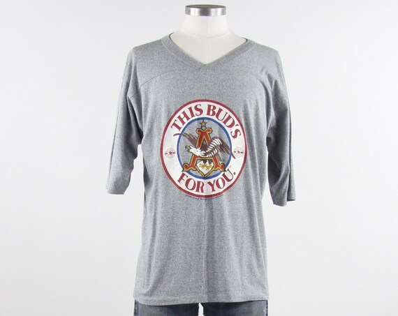 "Budweiser Shirt ""This Bud's For You"" Vintage T-Shirt Size Large Beer Anheuser Busch Baseball Vintage Gray"