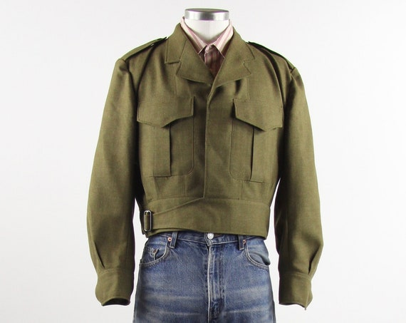 1968 Australian Military Jacket Olive Green Army Coat Vintage Size Medium