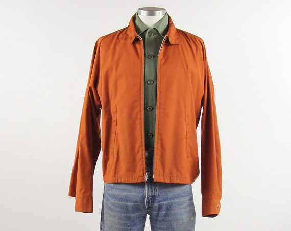 Men's 60's Zip Up Work Jacket Orange Lightweight Long Sleeve Size Large