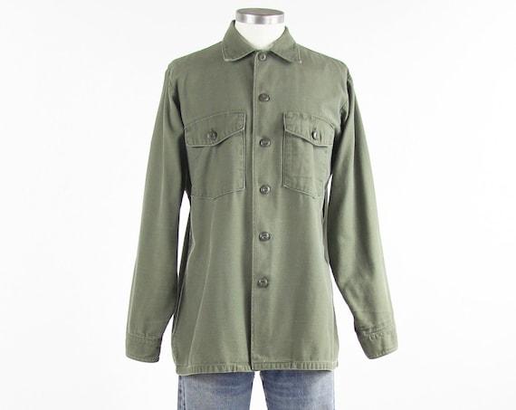 Green Cotton Military Shirt Army Fatigue Men's Shirt Vintage Size Medium / Large