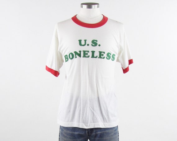 "Vintage 70's Ringer T-Shirt ""U.S. Boneless"" Felt Iron On Tee Shirt Men's Size Medium"