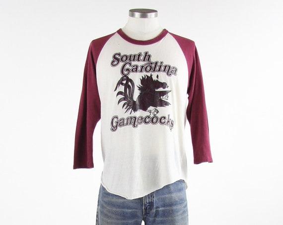 South Carolina Gamecocks USC T-shirt Papper Thin Raglan Baseball Tee Vintage Size Medium
