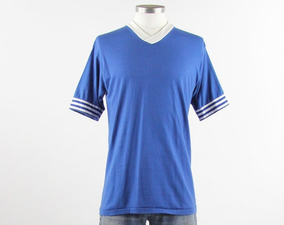 70's Blue V-Neck Tee Shirt Blue Ringer Baseball Tshirt Jersey Size Vintage Medium