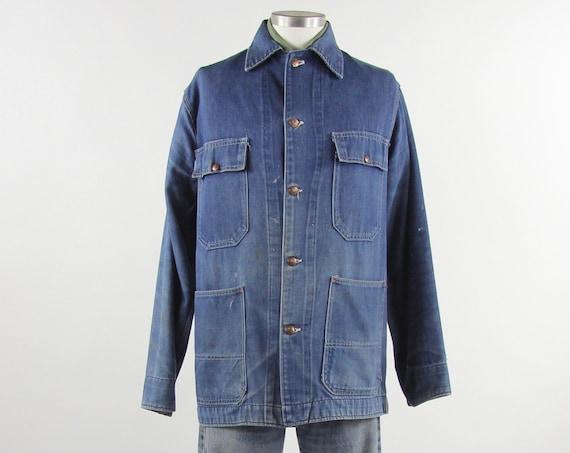 Denim Chore Coat Men's JC Penney Big Mac Vintage Jean Jacket Size Large L