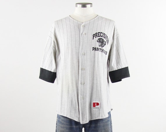 "90s Baseball Tee ""Precision Panthers"" Striped Button Down T-Shirt Jersey Vintage Size Medium Large"