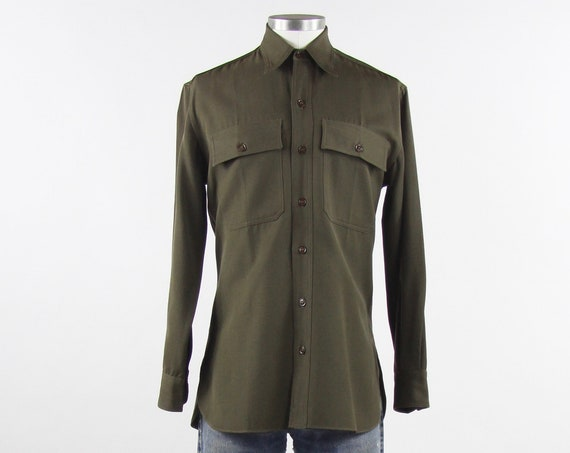 Australian 50's Olive Shirt Men's Button Down Work Shirt Vintage Size Medium / Sydney Australia