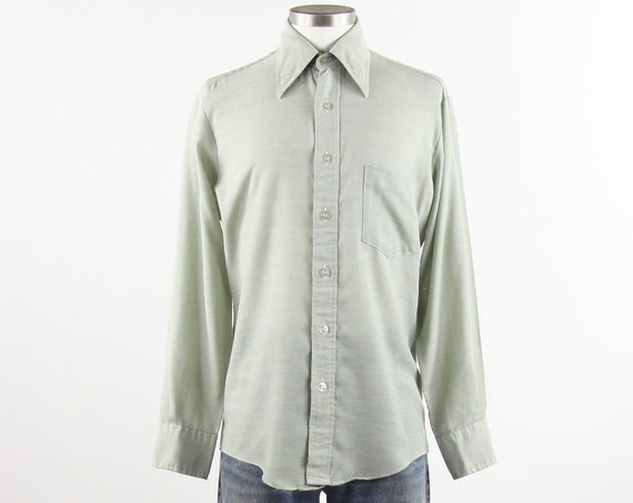 Green Men's Shirt 70's JC Penny Long Sleeve Button Down Shirt Size Medium