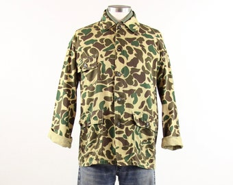 60's Camouflage Hunting Jacket Long Sleeve Shirt Men's Vintage Size Medium Large