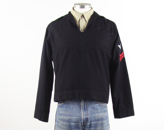 Men's Navy Sailor Shirt Heavy Wool WW2 Military Shirt Vintage Size Medium 40R