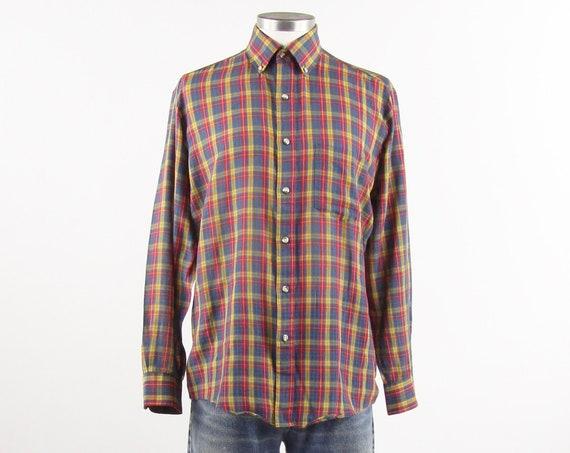 Men's Plaid Button Down Dress Shirt Cotton Red Yellow Blue Green Shirt Vintage Size Medium