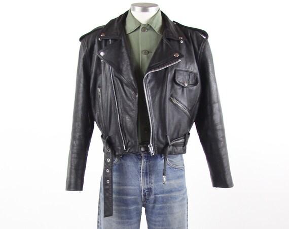 Classic Leather Men's Motorcycle Punk Rock Jacket Vintage Size Large