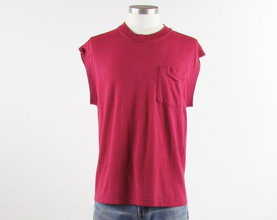 Maroon Red Sleeveless Men's Vintage Pocket T-shirt Size Medium / Large Made in the USA