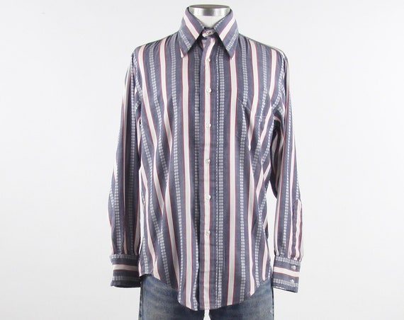 70's Psychedelic Shirt Men's Vertical Striped Red White Blue Cotton Vintage Medium Large