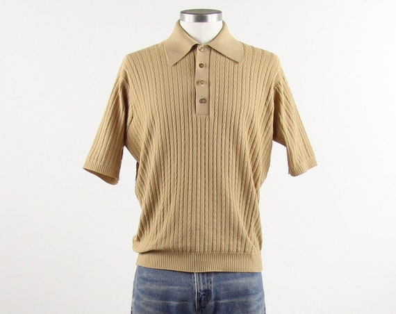 Tan 70's Polo Shirt Men's Brown Polyester Pullover Vintage Size Medium