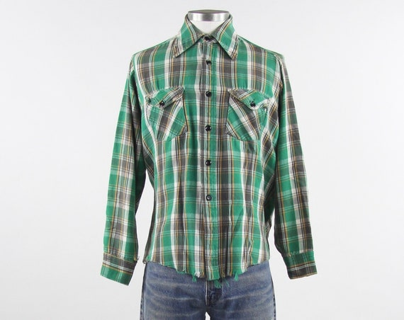 Green Grunge Flannel Plaid Green, Yellow, White and Brown Unisex Button Up Shirt Vintage Size Medium