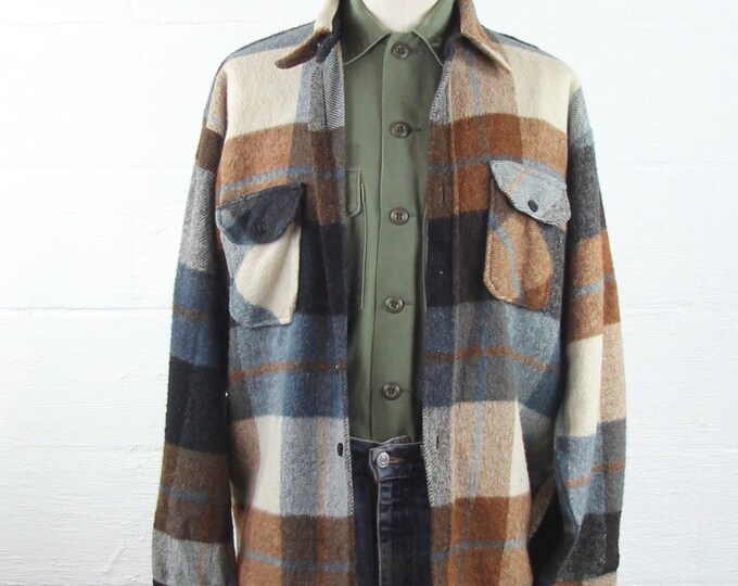 Men's Penny's 50's Flannel Shirt Button Up Heavy Winter Jacket Size Large
