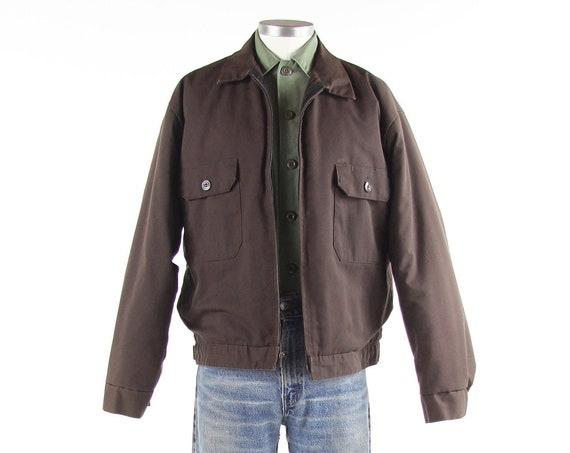 50's Brown Utility Work Wear Corporation Zip Up Jacket Men's Vintage Size Large