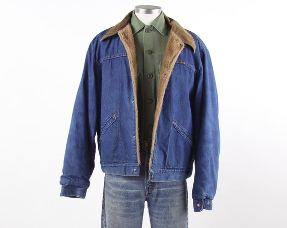 70's Wrangler Jean Jacket with Sherpa Lining and Corduroy Collar Vintage Size Large Tag Size 46