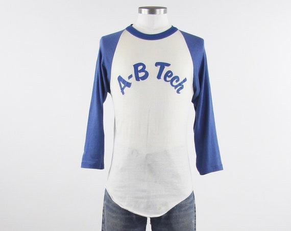 70's Baseball Tee Shirt Blue AB Tech Ringer T-Shirt Vintage Size Small Medium Blue White Distressed