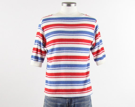 Terry Cloth Tee Shirt Striped Red White Blue T-shirt Vintage Size Medium