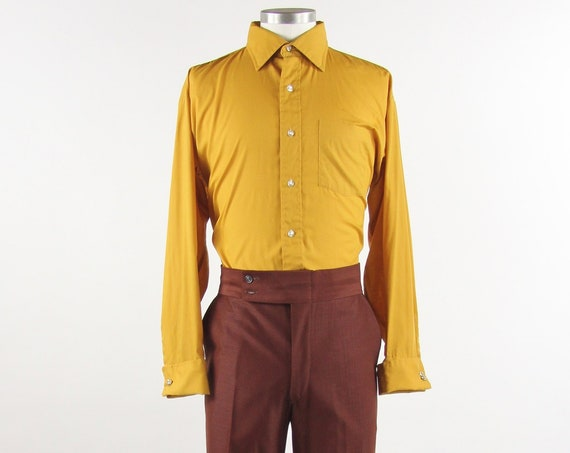 Men's Yellow 70's Shirt French Cuffs Vintage Size Large