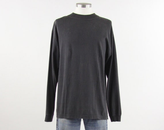 Black Turtle Neck 90s Streetwear Mock Neck T-shirt Size Large 100% Cotton