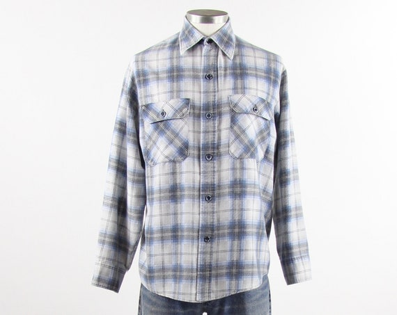 Sear's Flannel Shirt Men's Plaid Button Down Long Sleeve Shirt 1950s Shirt White Blue Grey Size Medium