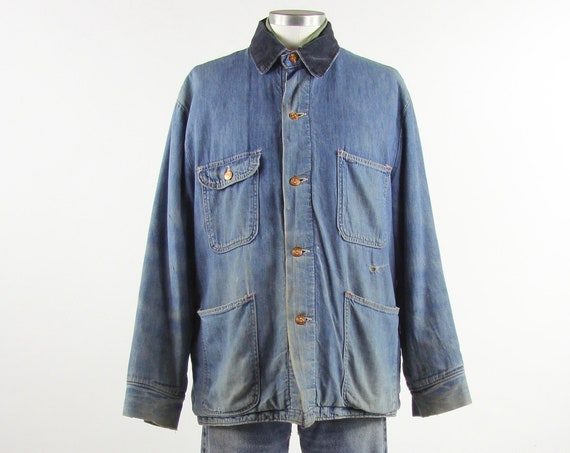 60's Chore Coat Men's Vintage Farm Jacket with Wool Lining Size Large