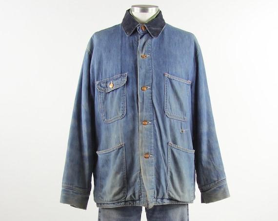 60's Chore Coat Men's Vintage Farm Jacket with Wool Lining Size Large