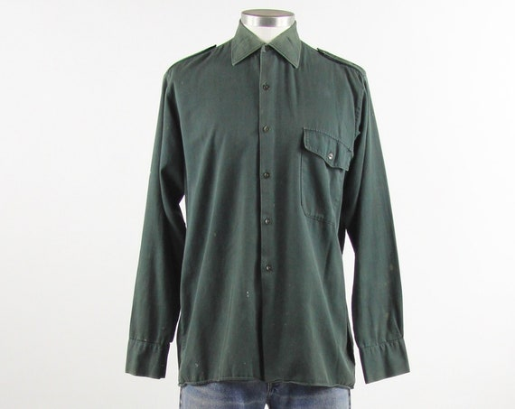 60's Green Work Shirt Men's Vintage Button Down with Epaulettes Size Medium