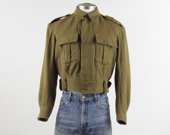 World War II 1940's Jacket Men's Olive Green Army Military Coat Vintage Size Small Medium
