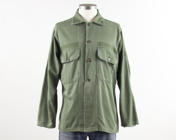Military Green Shirt Men's Olive Green BVD Army Long Sleeve Shirt Size Medium