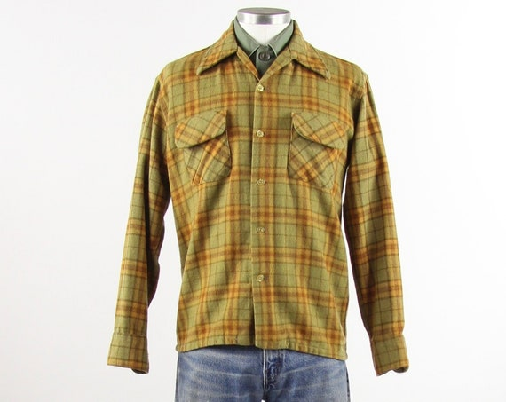 Montgomery Ward Men's Shirt Plaid Yellow and Green 50's Flannel Workshirt Vintage Size Medium