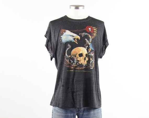 Distressed Harley Davidson Easy Riders Paper Thin Grunge T shirt Sleeveless Tank Top Skull Eagle Snake Shirt Vintage Size Medium Large