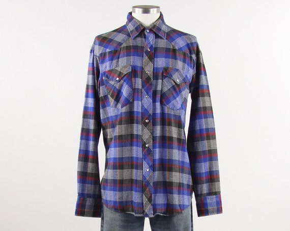 Men's Lee Western Shirt Blue Soft Cotton Flannel Plaid Western Snap Button Up Shirt Vintage Size Large