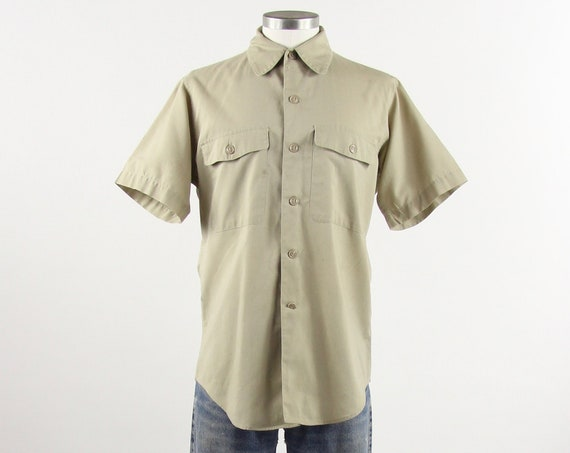 60's Work Shirt Men's Button Down Short Sleeve Military Uniform Shirt Size Medium