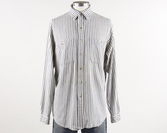 Banana Republic Vintage Striped Men's Shirt White Blue Long Sleeve Button Down Size Medium Large